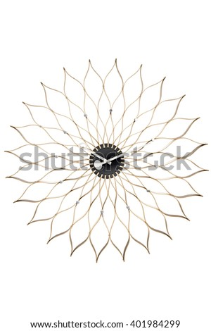 Closeup of floral shaped wall clock over white background - stock photo