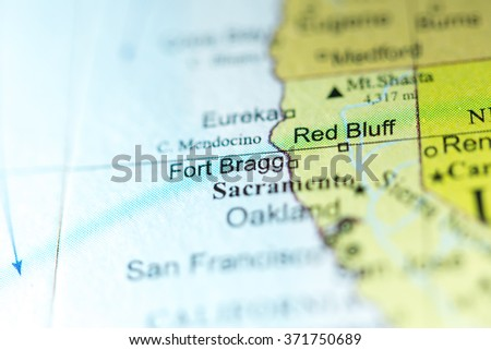 Closeup Of Fort Bragg California On A Political Map Of Usa