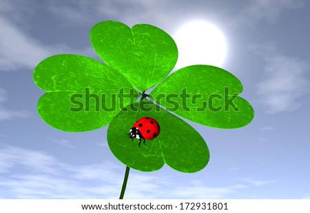 closeup of four-leaf clover that has a red ladybird on one leaf, with the sun and some clouds in the sky behind it on the background - stock photo