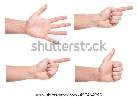 Closeup of four male hand palm with different expressions on white background - stock photo