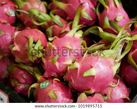 Closeup of fresh colorful dragon fruits