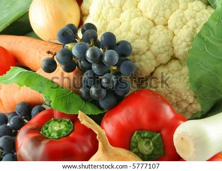 closeup of fresh organic vegetables - stock photo