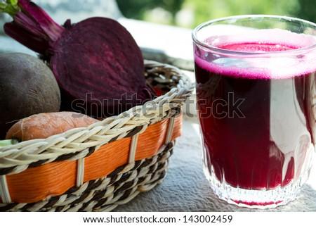 Closeup of Fresh Red Beet Juice - stock photo