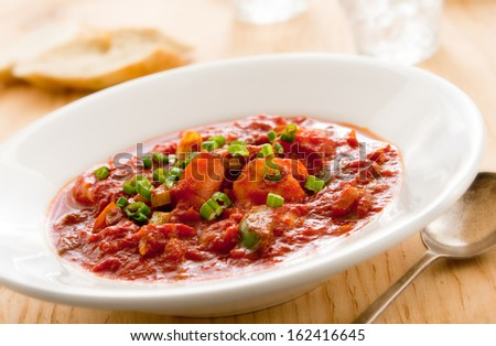 Closeup of fresh shrimp creole. - stock photo