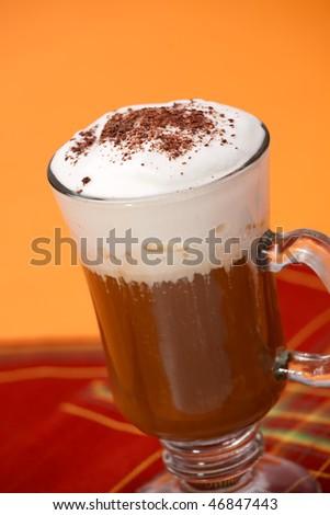 Closeup of fresh tasty Coffee Latte - Coffee Warmers series - stock photo