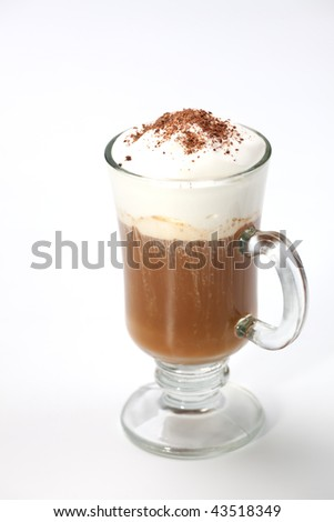 Closeup of fresh tasty Coffee Latte on white - Coffee Warmers series