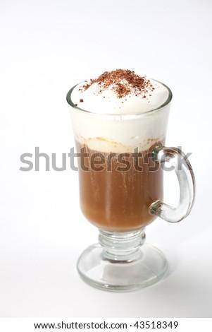 Closeup of fresh tasty Coffee Latte on white - Coffee Warmers series - stock photo