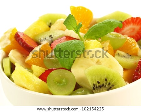 Closeup of fruit salad on isolated background