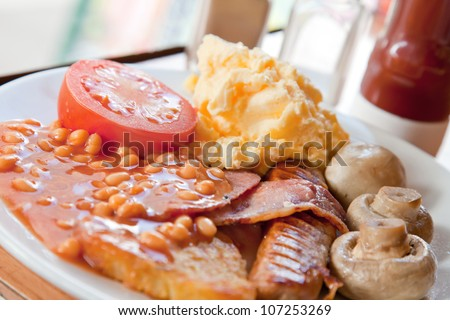 Closeup of Full English Breakfast - stock photo