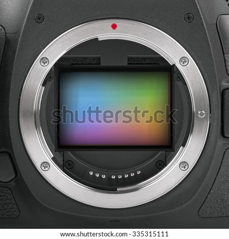 closeup of full frame camera sensor - stock photo