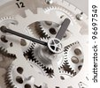 Closeup of gears from clock works - stock photo