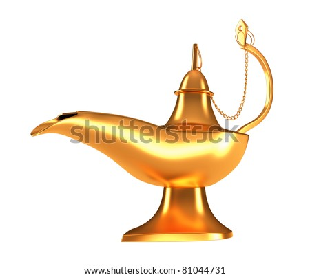 Closeup of Genie golden lamp isolated over white background