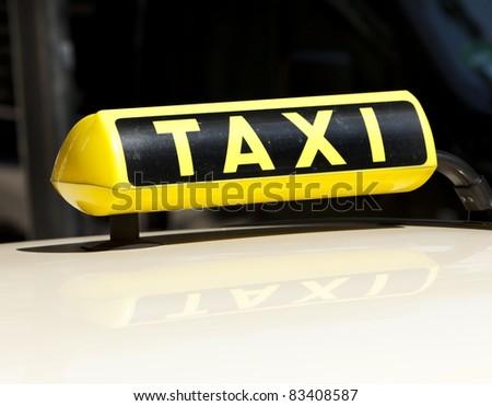 closeup of german taxi sign - stock photo