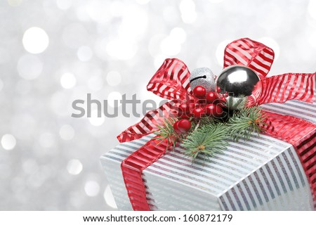 Closeup of gift box on abstract background - stock photo