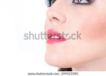closeup of girl's beautiful nose and red lips isolated on white - stock photo