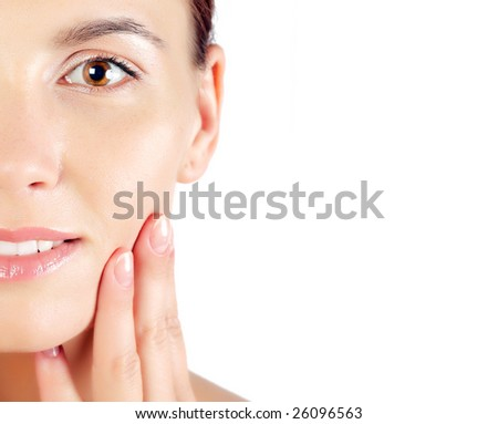 Closeup of girl with health skin of face - stock photo