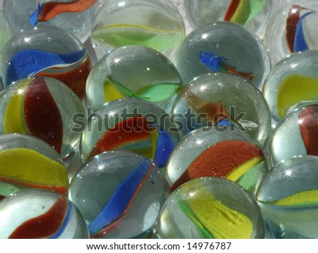 Closeup of glass marbles - stock photo