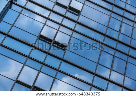 closeup of glass wall of modern building