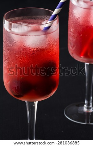 Closeup of glasses of cherry, ginger infused water with ice.
