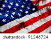 Closeup of Glossy Flag of United States of America - US Flag Drapery - stock photo