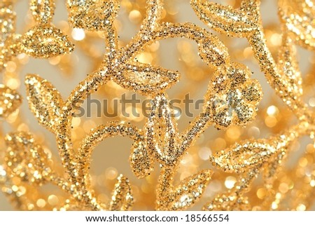 Closeup of Gold Filigree Christmas Ornament - stock photo