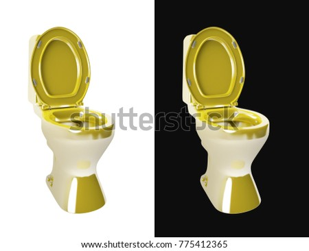 Closeup Of Gold Toilet Isolated On Plain Background Set White And Black