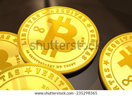 Closeup of golden Bitcoins on a dark background - stock photo