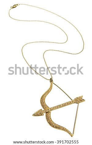 Closeup of golden bow and arrow necklace over white background - stock photo