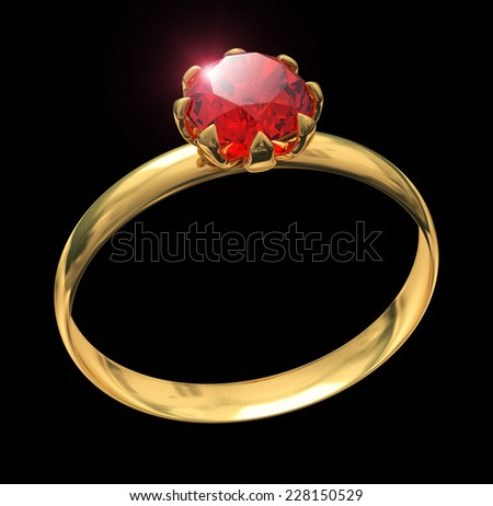 Closeup of golden ring with ruby gem isolated on black - stock photo