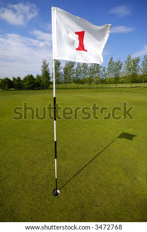 Closeup of golf flag number one - stock photo