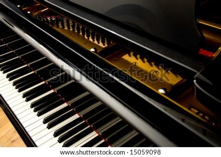 Closeup of Grand Piano Keys - stock photo