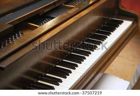 Closeup of Grand Piano Keys - stock photo