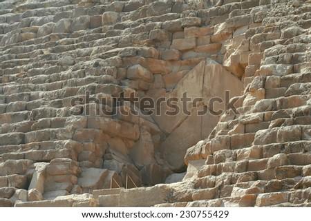 Closeup of great pyramid, giza, egypt - stock photo