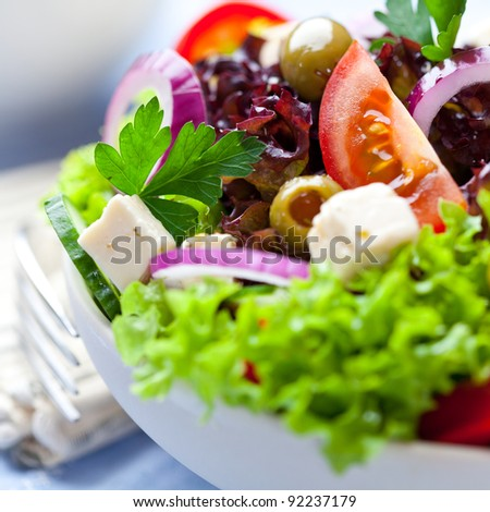 Closeup of Greek Salad - stock photo
