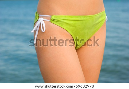 Closeup of green bikini panties - stock photo