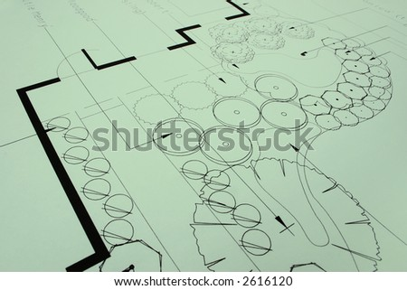 Closeup of green landscaping blueprints, as a photo or background. More in Portfolio... - stock photo