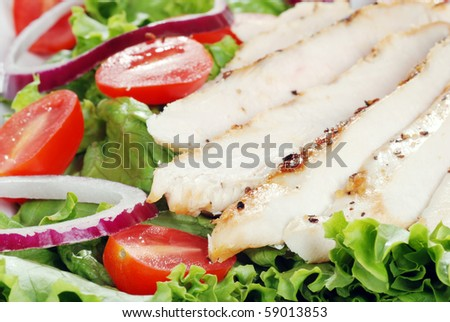 closeup of grilled chicken salad