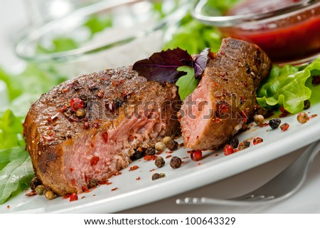 closeup of grilled steak - stock photo