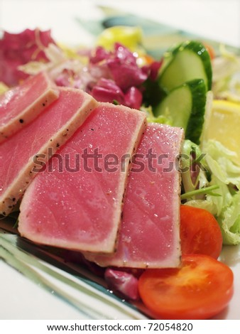 Closeup of grilled tuna salad - stock photo