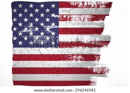 Closeup of grunge American flag in paint brush pattern  - stock photo