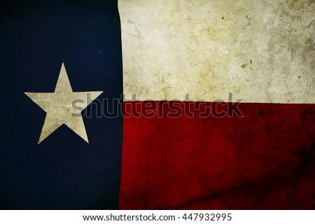 Closeup of grunge Texas flag  - stock photo