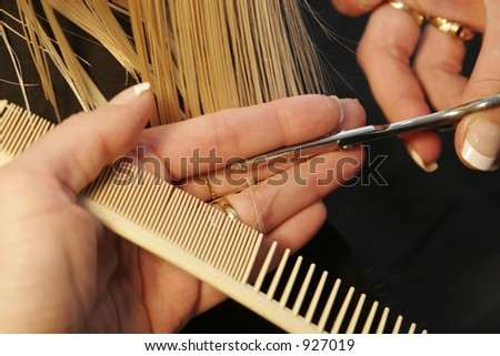 closeup of hairdresser cutting hair - stock photo