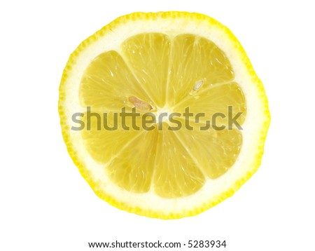 Closeup of half a lemon, isolated on white - stock photo
