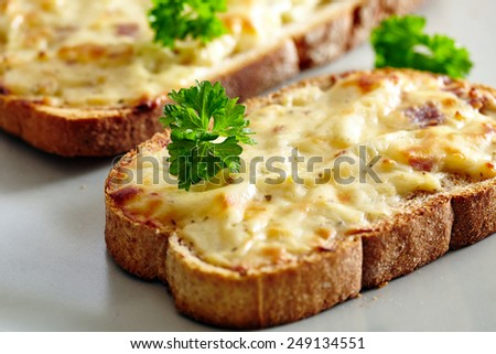 Closeup of ham and cheese bruschetta oven baked with herbs - stock photo