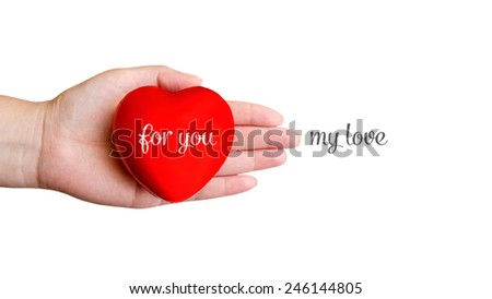 Closeup of hand and red heart with text isolated - stock photo