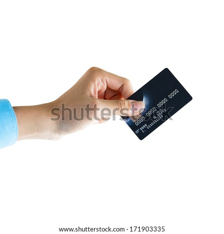 Closeup of hand holding credit card isolated over white background, ready for payment - stock photo