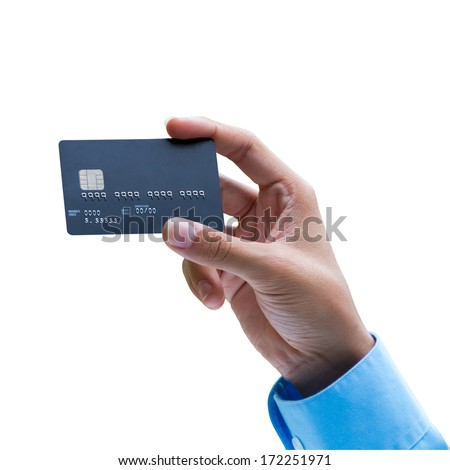 Closeup of hand holding credit card over white background, ready for payment - stock photo