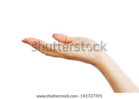 Closeup of hand of a young woman with long red manicure on nails.  Isolated on white background - stock photo