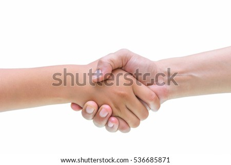 Closeup of hand shake man and woman isolated on white with clipping path