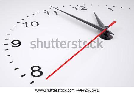 Closeup of hands on clock face. 3D illustration - stock photo